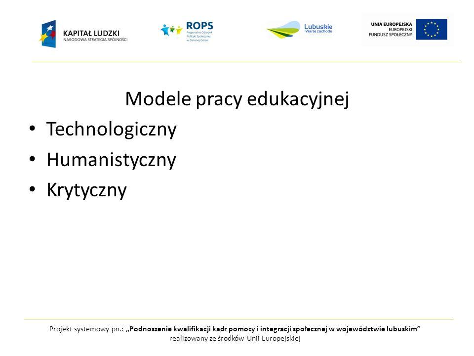 Projekt systemowy pn.: Podnoszenie kwalifikacji kadr pomocy i integracji społecznej w województwie lubuskim realizowany ze środków Unii Europejskiej Model technologiczny – rozumienie wiedzy Sfera naukowych prawd, która stanowi uświęcony przedmiot kształcenia Wiedza usystematyzowana, technologia