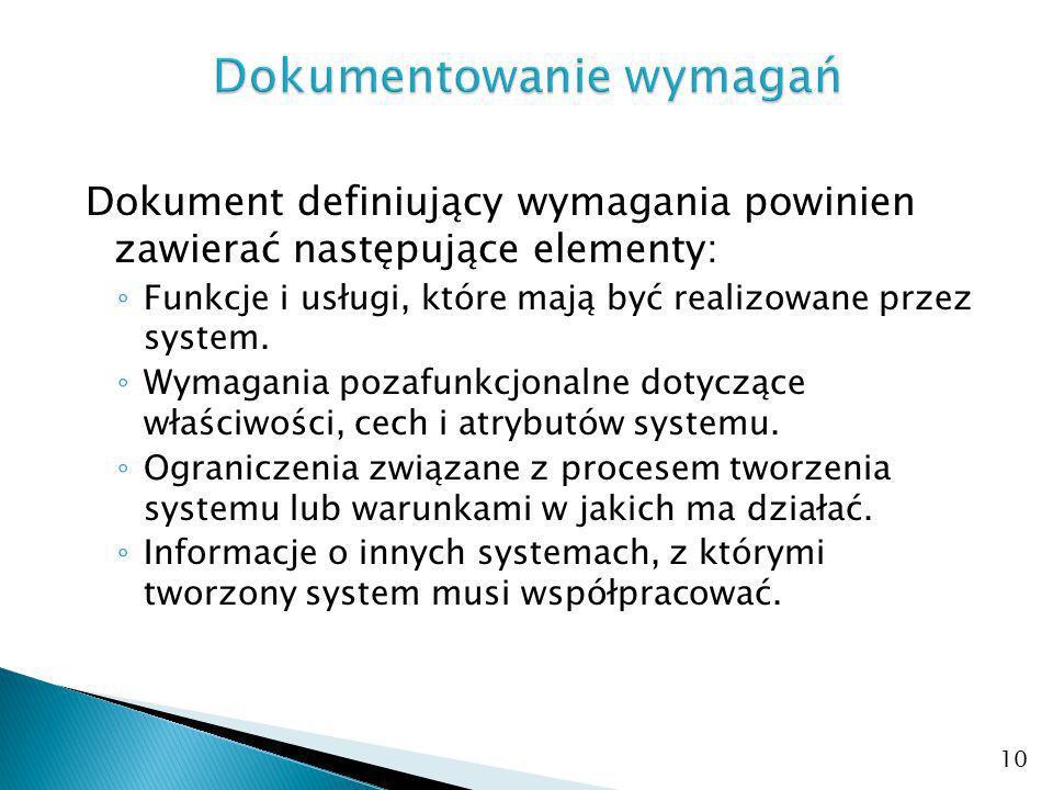 Dokument definiujący wymagania powinien zawierać następujące elementy: Funkcje i usługi, które mają być realizowane przez system.