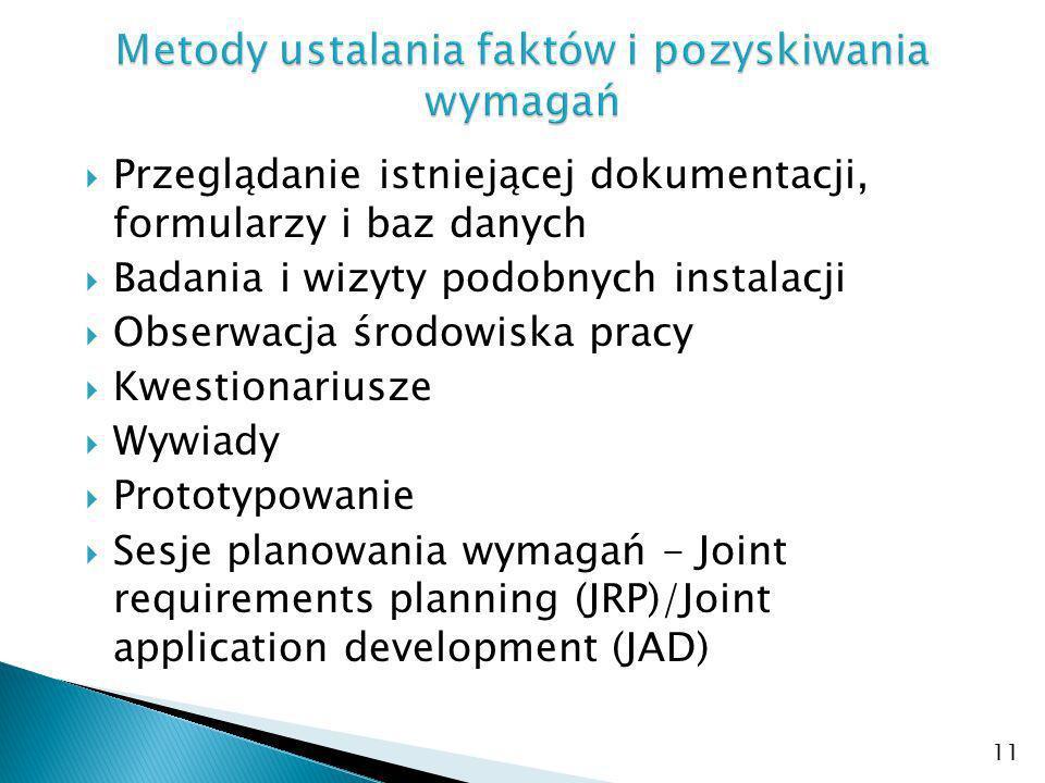 Przeglądanie istniejącej dokumentacji, formularzy i baz danych Badania i wizyty podobnych instalacji Obserwacja środowiska pracy Kwestionariusze Wywiady Prototypowanie Sesje planowania wymagań - Joint requirements planning (JRP)/Joint application development (JAD) 11