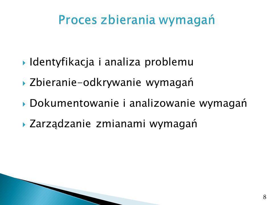 Identyfikacja i analiza problemu Zbieranie-odkrywanie wymagań Dokumentowanie i analizowanie wymagań Zarządzanie zmianami wymagań 8