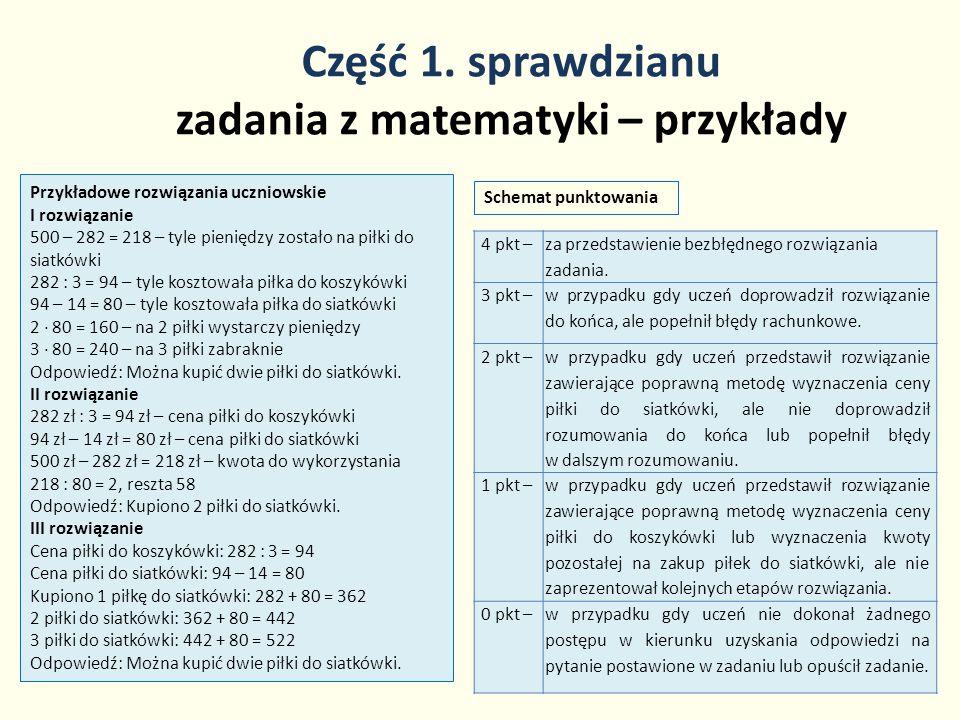 Część 1. sprawdzianu zadania z matematyki – przykłady 20 Przykładowe rozwiązania uczniowskie I rozwiązanie 500 – 282 = 218 – tyle pieniędzy zostało na