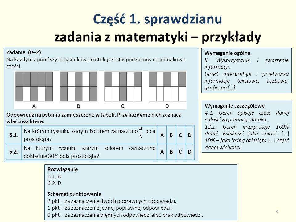 Część 1. sprawdzianu zadania z matematyki – przykłady 9 Zadanie (0–2) Na każdym z poniższych rysunków prostokąt został podzielony na jednakowe części.
