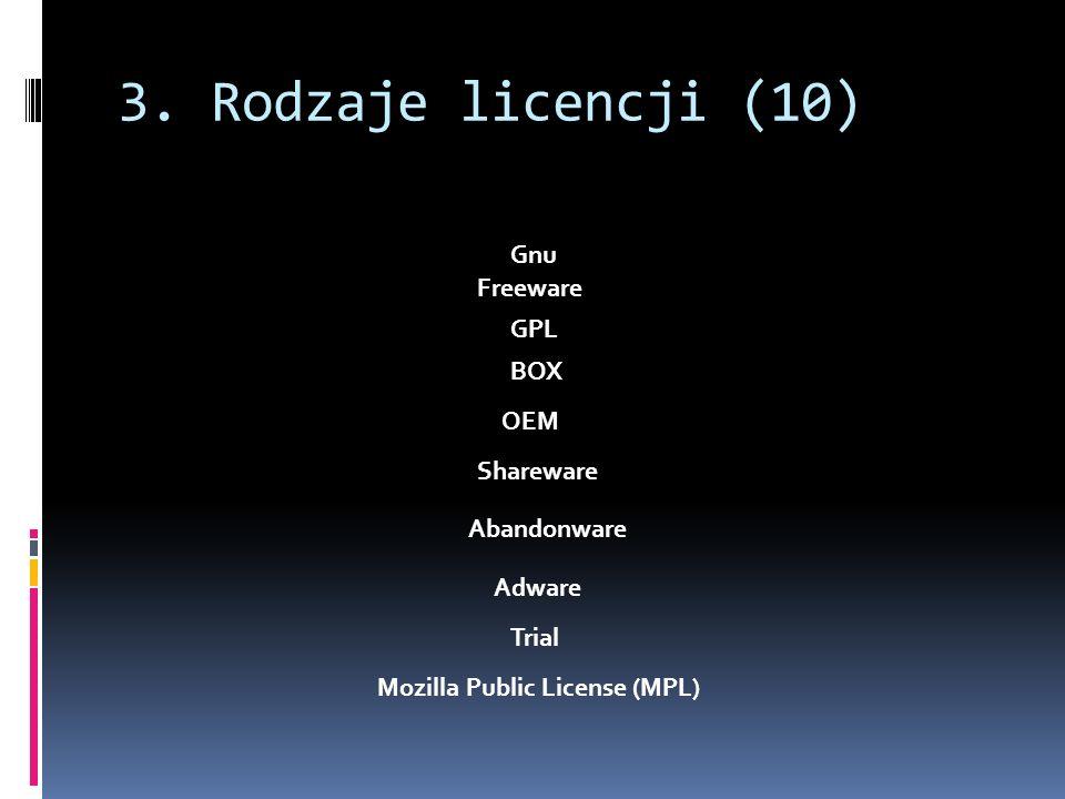 3. Rodzaje licencji (10) Abandonware GPL Freeware Trial Adware Shareware OEM BOX Gnu Mozilla Public License (MPL)