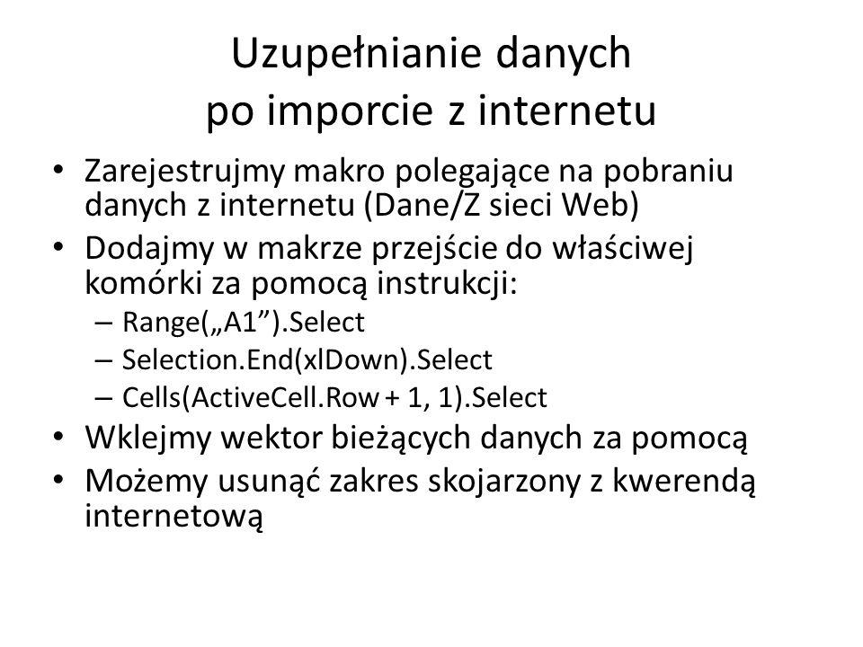 Uzupełnianie danych po imporcie z internetu Zarejestrujmy makro polegające na pobraniu danych z internetu (Dane/Z sieci Web) Dodajmy w makrze przejści