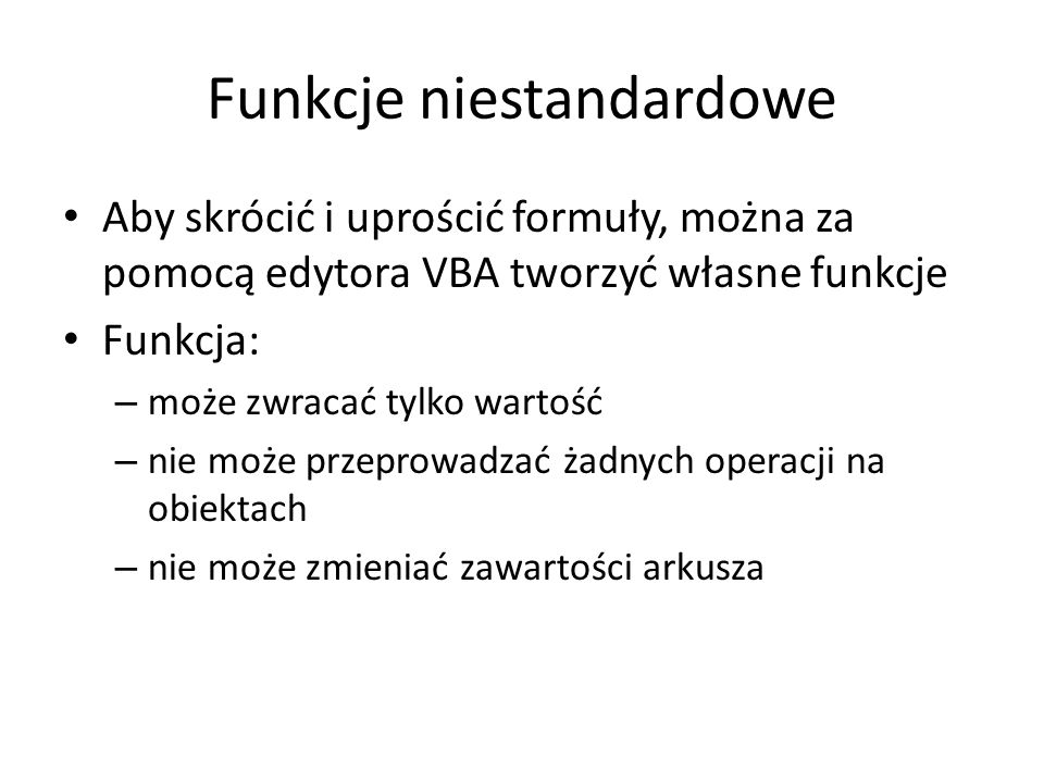 Procedury zdarzeń AfterUpdate() i Change() Private Sub tglWypelnienie_AfterUpdate() Call Wypelnienie End Sub Private Sub OptionButton1_Change() Call Wypelnienie End Sub Private Sub OptionButton2_Change() Call Wypelnienie End Sub Private Sub OptionButton3_Change() Call Wypelnienie End Sub Private Sub chkJasne_Change() Call Wypelnienie End Sub