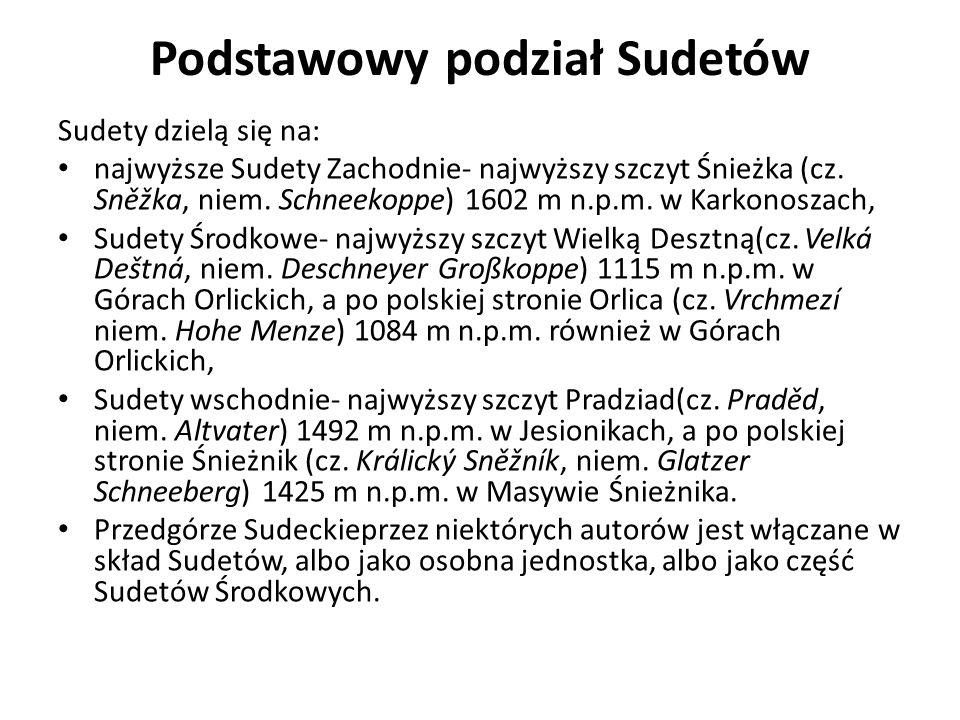 Podstawowy podział Sudetów Sudety dzielą się na: najwyższe Sudety Zachodnie- najwyższy szczyt Śnieżka (cz. Sněžka, niem. Schneekoppe) 1602 m n.p.m. w