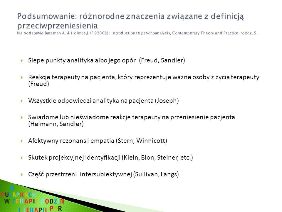 Ślepe punkty analityka albo jego opór (Freud, Sandler) Reakcje terapeuty na pacjenta, który reprezentuje ważne osoby z życia terapeuty (Freud) Wszystkie odpowiedzi analityka na pacjenta (Joseph) Świadome lub nieświadome reakcje terapeuty na przeniesienie pacjenta (Heimann, Sandler) Afektywny rezonans i empatia (Stern, Winnicott) Skutek projekcyjnej identyfikacji (Klein, Bion, Steiner, etc.) Część przestrzeni intersubiektywnej (Sullivan, Langs)