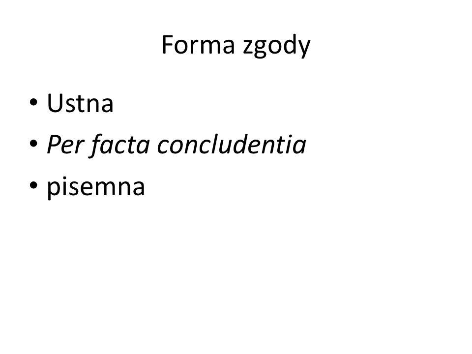 Forma zgody Ustna Per facta concludentia pisemna