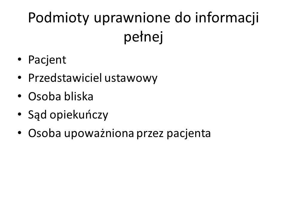 Podmioty uprawnione do informacji pełnej Pacjent Przedstawiciel ustawowy Osoba bliska Sąd opiekuńczy Osoba upoważniona przez pacjenta
