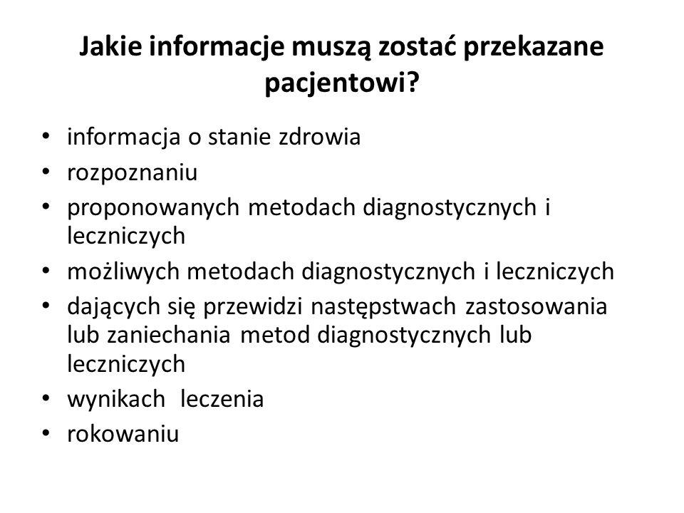 Jakie informacje muszą zostać przekazane pacjentowi? informacja o stanie zdrowia rozpoznaniu proponowanych metodach diagnostycznych i leczniczych możl