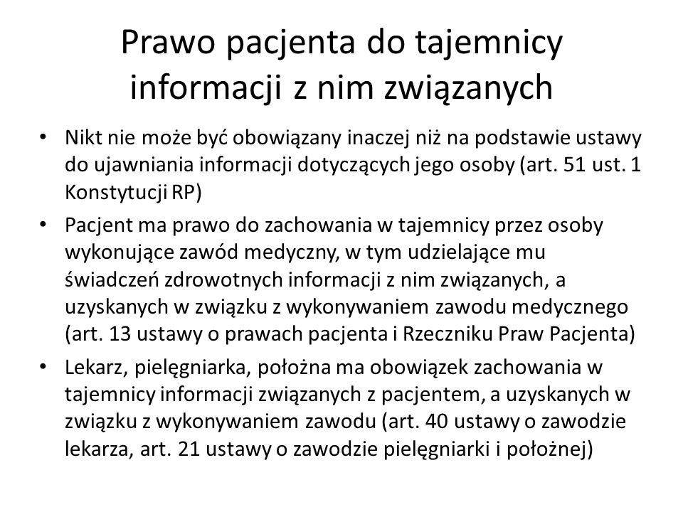 Prawo pacjenta do tajemnicy informacji z nim związanych Nikt nie może być obowiązany inaczej niż na podstawie ustawy do ujawniania informacji dotycząc