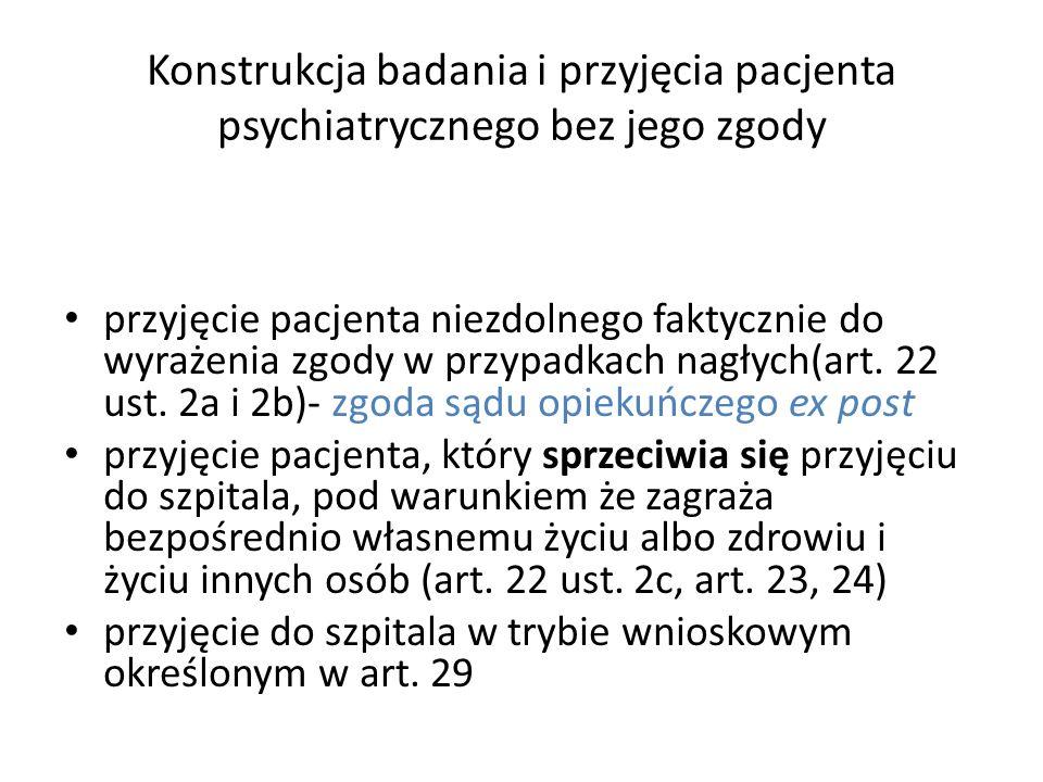 Konstrukcja badania i przyjęcia pacjenta psychiatrycznego bez jego zgody przyjęcie pacjenta niezdolnego faktycznie do wyrażenia zgody w przypadkach na