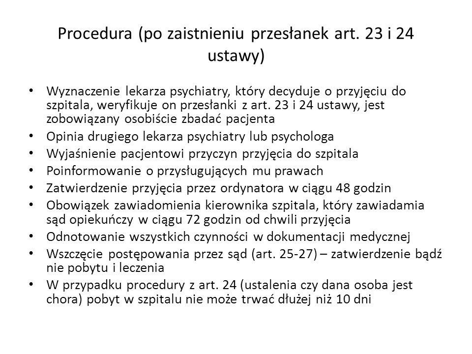 Procedura (po zaistnieniu przesłanek art. 23 i 24 ustawy) Wyznaczenie lekarza psychiatry, który decyduje o przyjęciu do szpitala, weryfikuje on przesł