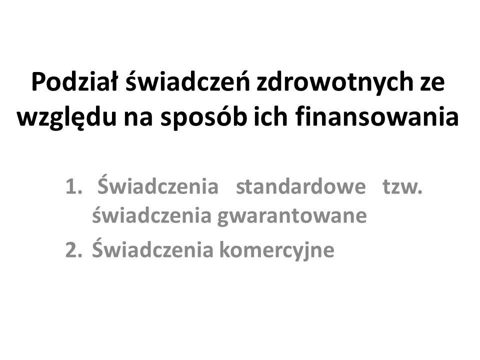 Podział świadczeń zdrowotnych ze względu na sposób ich finansowania 1. Świadczenia standardowe tzw. świadczenia gwarantowane 2.Świadczenia komercyjne