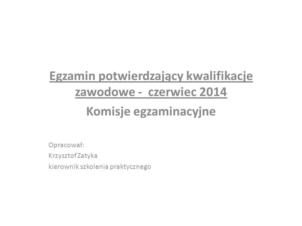 Egzamin potwierdzający kwalifikacje zawodowe - czerwiec 2014 Komisje egzaminacyjne Opracował: Krzysztof Zatyka kierownik szkolenia praktycznego