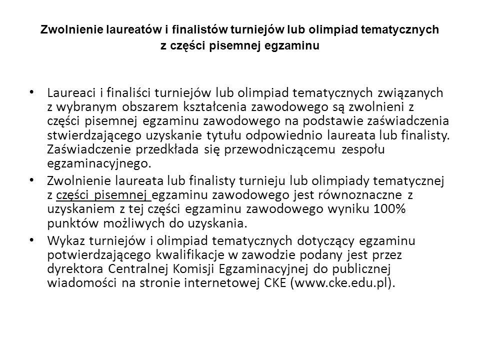 Zwolnienie laureatów i finalistów turniejów lub olimpiad tematycznych z części pisemnej egzaminu Laureaci i finaliści turniejów lub olimpiad tematyczn