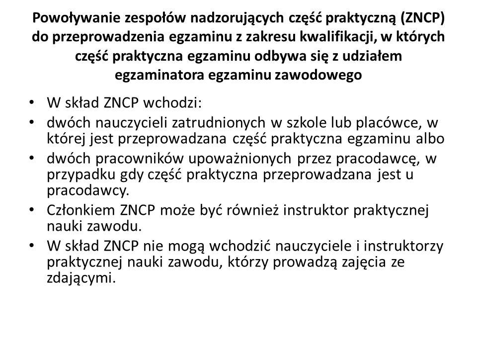 Powoływanie zespołów nadzorujących część praktyczną (ZNCP) do przeprowadzenia egzaminu z zakresu kwalifikacji, w których część praktyczna egzaminu odb