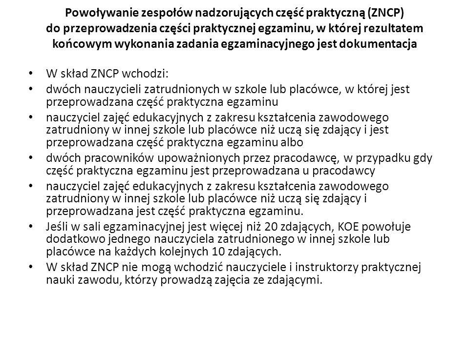 Powoływanie zespołów nadzorujących część praktyczną (ZNCP) do przeprowadzenia części praktycznej egzaminu, w której rezultatem końcowym wykonania zada