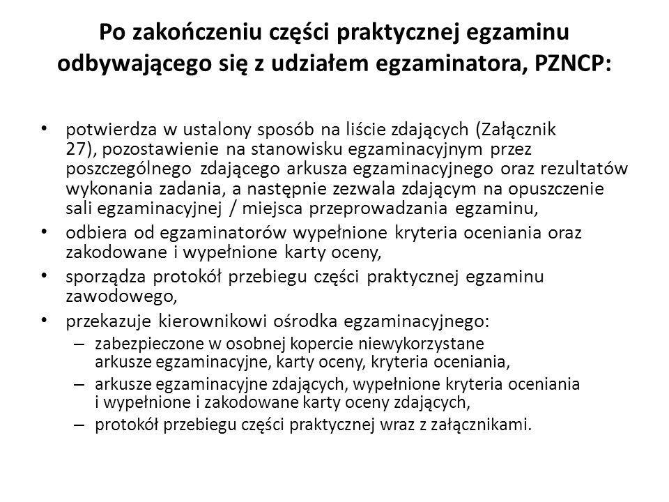 Po zakończeniu części praktycznej egzaminu odbywającego się z udziałem egzaminatora, PZNCP: potwierdza w ustalony sposób na liście zdających (Załączni
