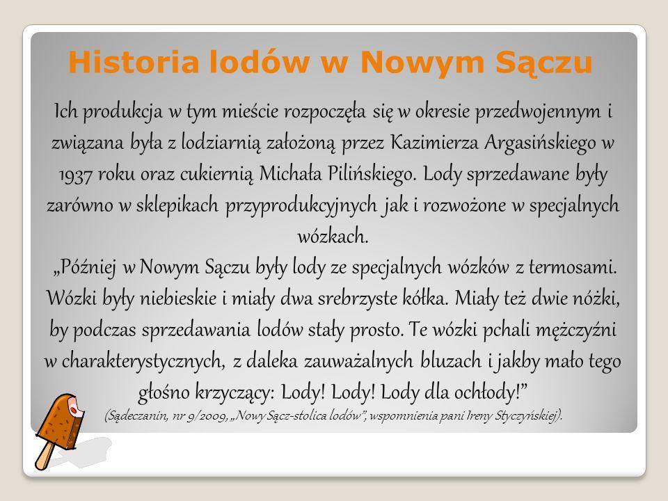 Dawniej w Polsce chłodnictwo nie było rozwinięte, w związku z czym do zamrażania, transportu i przechowywania lodów używano zebranego w zimie lodu rzecznego.