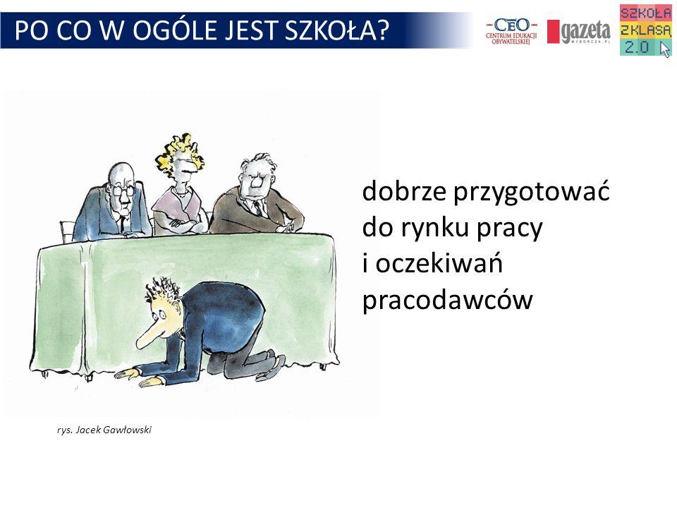 PO CO W OGÓLE JEST SZKOŁA? dobrze przygotować do rynku pracy i oczekiwań pracodawców rys. Jacek Gawłowski
