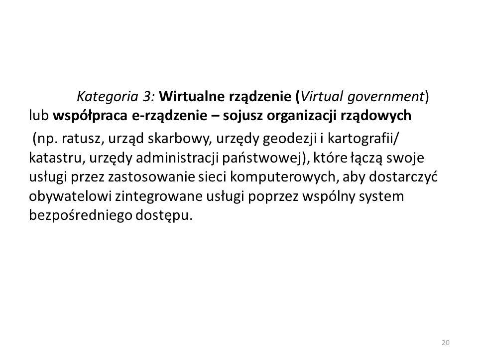 Kategoria 3: Wirtualne rządzenie (Virtual government) lub współpraca e-rządzenie – sojusz organizacji rządowych (np.
