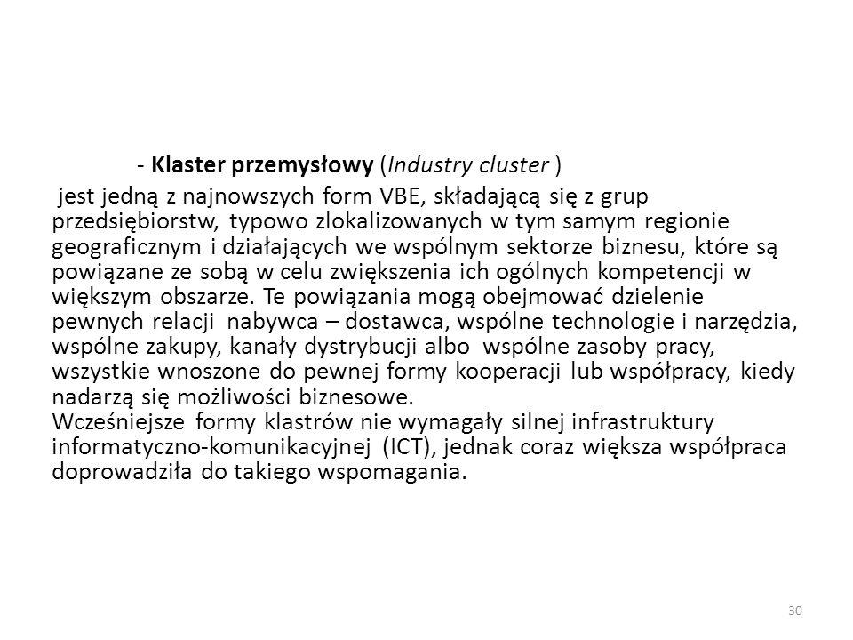 - Klaster przemysłowy (Industry cluster ) jest jedną z najnowszych form VBE, składającą się z grup przedsiębiorstw, typowo zlokalizowanych w tym samym regionie geograficznym i działających we wspólnym sektorze biznesu, które są powiązane ze sobą w celu zwiększenia ich ogólnych kompetencji w większym obszarze.