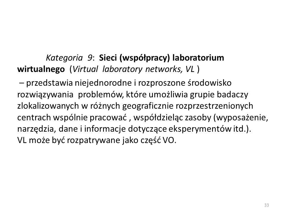 Kategoria 9: Sieci (współpracy) laboratorium wirtualnego (Virtual laboratory networks, VL ) – przedstawia niejednorodne i rozproszone środowisko rozwiązywania problemów, które umożliwia grupie badaczy zlokalizowanych w różnych geograficznie rozprzestrzenionych centrach wspólnie pracować, współdzieląc zasoby (wyposażenie, narzędzia, dane i informacje dotyczące eksperymentów itd.).