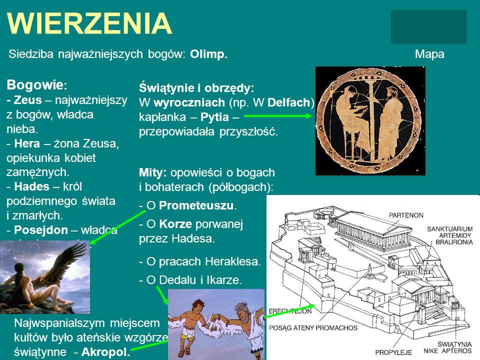 WIERZENIA Siedziba najważniejszych bogów: Olimp.Mapa Bogowie : - Zeus – najważniejszy z bogów, władca nieba. - Hera – żona Zeusa, opiekunka kobiet zam
