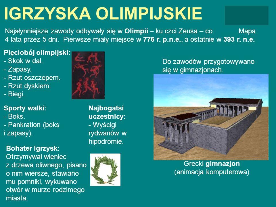 IGRZYSKA OLIMPIJSKIE MapaNajsłynniejsze zawody odbywały się w Olimpii – ku czci Zeusa – co 4 lata przez 5 dni. Pierwsze miały miejsce w 776 r. p.n.e.,