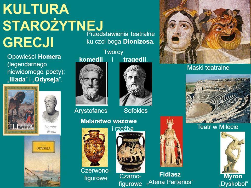 KULTURA STAROŻYTNEJ GRECJI Przedstawienia teatralne ku czci boga Dionizosa. Twórcy komedii i tragedii. Maski teatralne ArystofanesSofokles Teatr w Mil