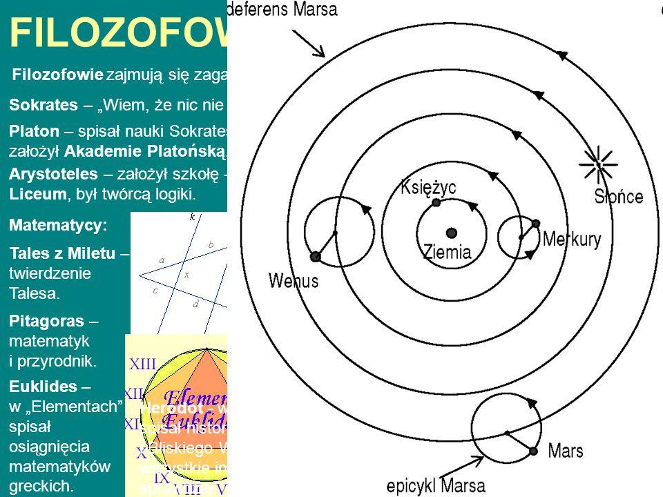 FILOZOFOWIE I WYNALAZCY Filozofowie zajmują się zagadnieniami dotyczącymi natury świata i człowieka. Sokrates – Wiem, że nic nie wiem. Platon – spisał