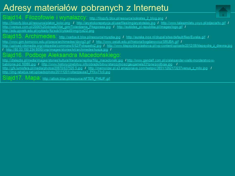 Adresy materiałów pobranych z Internetu Slajd14. Filozofowie i wynalazcy: http://filozofy.blox.pl/resource/sokrates_2_blog.png / http://filozofy.blox.