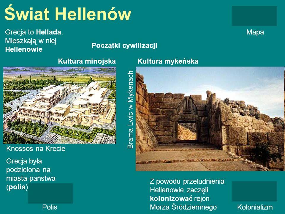 Świat Hellenów Grecja to Hellada. Mieszkają w niej Hellenowie Mapa Początki cywilizacji Kultura minojskaKultura mykeńska Knossos na Krecie Brama Lwic