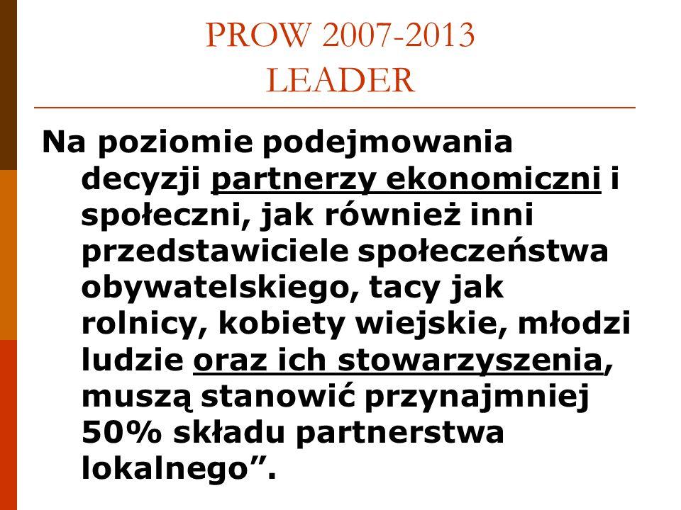 PROW 2007-2013 LEADER PODSUMOWANIE dot.dotychczasowych form: 1.