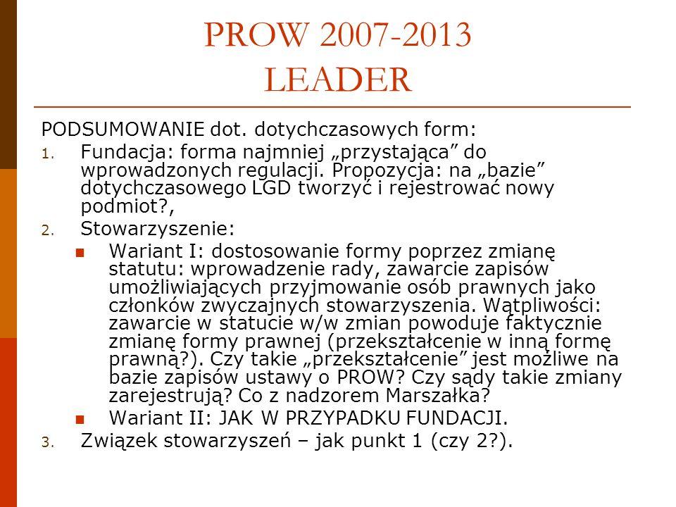 PROW 2007-2013 LEADER PODSUMOWANIE dot. dotychczasowych form: 1.