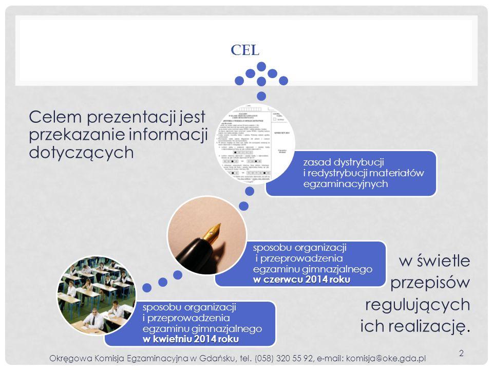 Na podstawie zaświadczenia o uzyskaniu tytułu laureata/finalisty z zakresu w 2014 roku można zwolnić zdającego języka polskiego historii i WOS-u lub pierwszej z pierwszej części egzaminu matematyki przedmiotów przyrodniczych lub języka obcego nowożytnego, którego zdawanie w trzeciej części egzaminu zostało zadeklarowane drugiej z drugiej części egzaminu z obydwu poziomów trzeciej z obydwu poziomów trzeciej części egzaminu ZWALNIANIE Z ODPOWIEDNIEJ CZĘŚCI EGZAMINU LAUREATÓW KONKURSÓW PRZEDMIOTOWYCH LUB LAUREATÓW/FINALISTÓW OLIMPIAD PRZEDMIOTOWYCH 43 Okręgowa Komisja Egzaminacyjna w Gdańsku, tel.