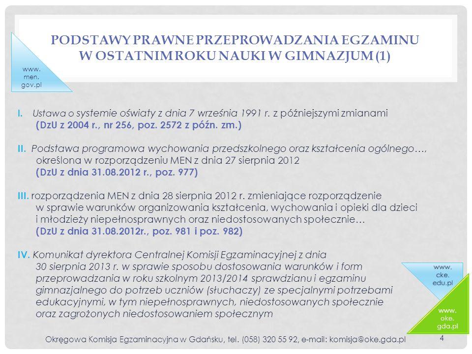 PODSTAWY PRAWNE PRZEPROWADZANIA EGZAMINU W OSTATNIM ROKU NAUKI W GIMNAZJUM (1) Okręgowa Komisja Egzaminacyjna w Gdańsku, tel. (058) 320 55 92, e-mail: