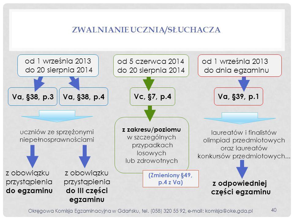 ZWALNIANIE UCZNIA/SŁUCHACZA Okręgowa Komisja Egzaminacyjna w Gdańsku, tel. (058) 320 55 92, e-mail: komisja@oke.gda.pl 40 Va, §38, p.3Va, §38, p.4 Va,