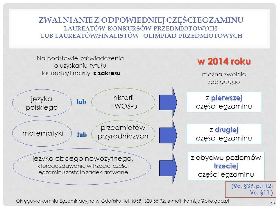 Na podstawie zaświadczenia o uzyskaniu tytułu laureata/finalisty z zakresu w 2014 roku można zwolnić zdającego języka polskiego historii i WOS-u lub p