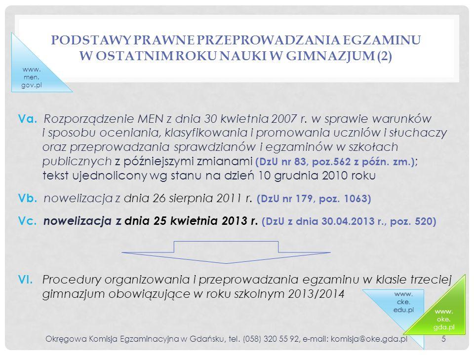 ZMIANY W ROZPORZĄDZENIU WPROWADZONE NA ROK SZKOLNY 2013/2014 NOWELIZACJĄ Z DNIA 25 KWIETNIA 2013 ROKU Okręgowa Komisja Egzaminacyjna w Gdańsku, tel.