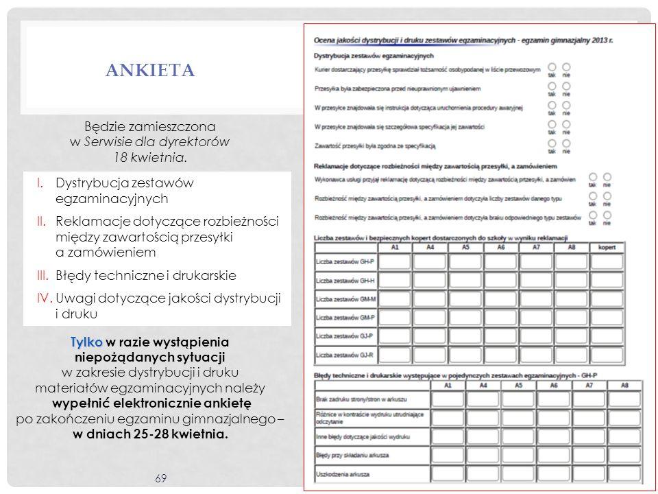 69 ANKIETA Będzie zamieszczona w Serwisie dla dyrektorów 18 kwietnia. Tylko Tylko w razie wystąpienia niepożądanych sytuacji w zakresie dystrybucji i