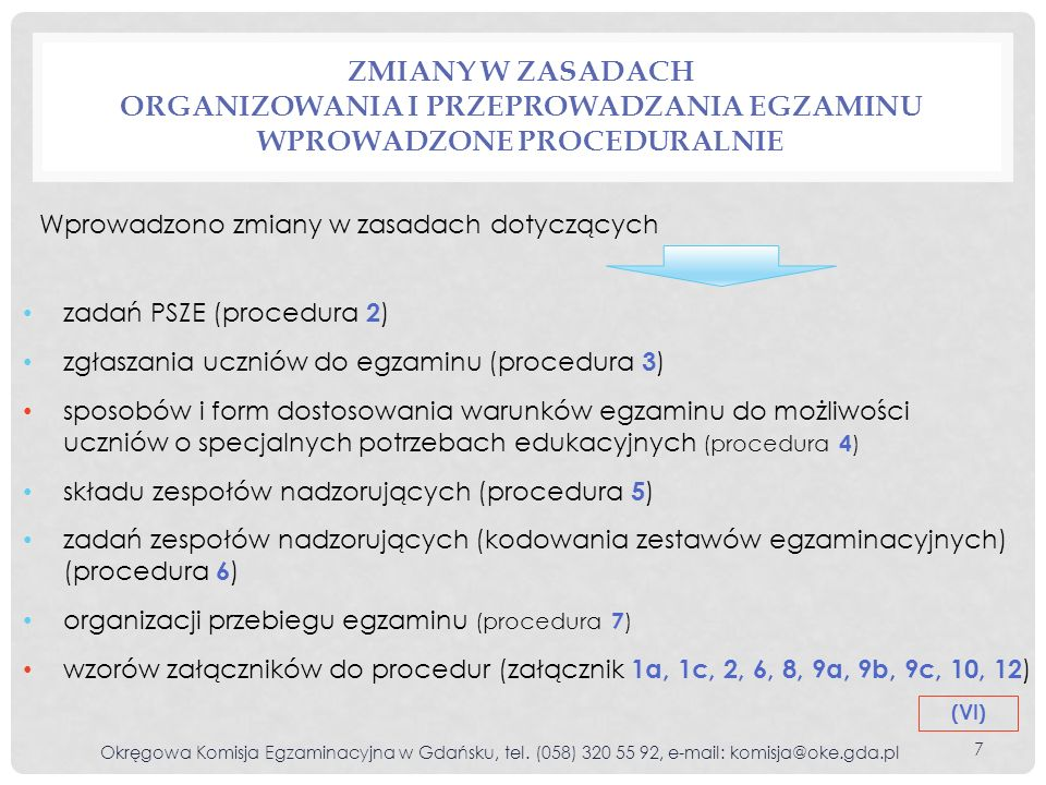 ZMIANY W ZASADACH ORGANIZOWANIA I PRZEPROWADZANIA EGZAMINU WPROWADZONE PROCEDURALNIE Okręgowa Komisja Egzaminacyjna w Gdańsku, tel. (058) 320 55 92, e