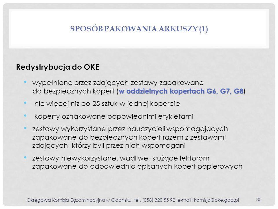 Redystrybucja do OKE SPOSÓB PAKOWANIA ARKUSZY (1) w oddzielnych kopertach G6, G7, G8 wypełnione przez zdających zestawy zapakowane do bezpiecznych kop