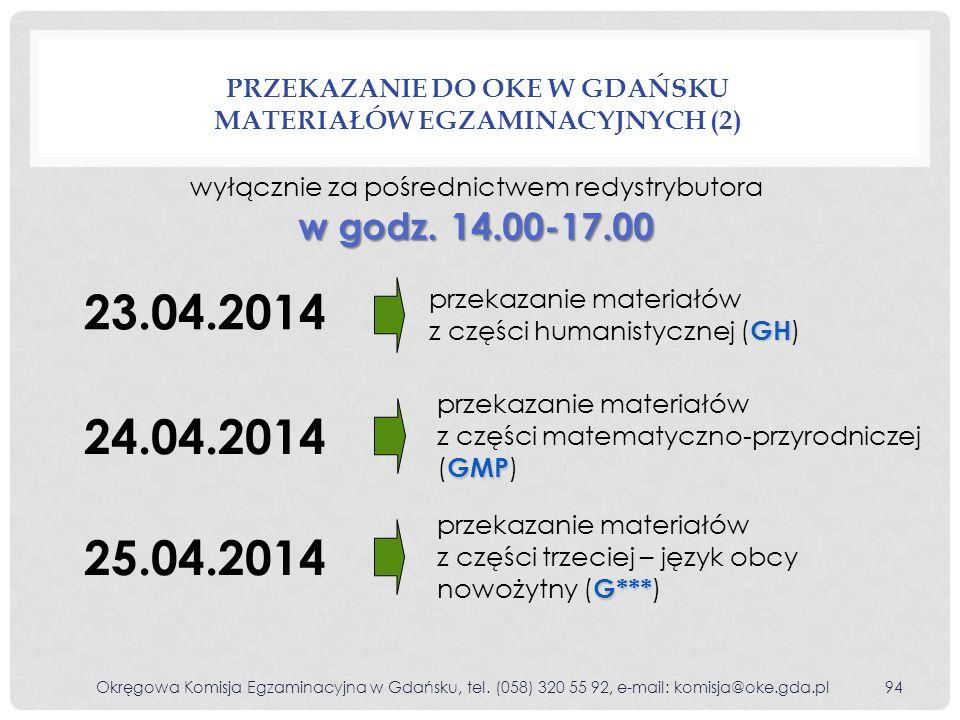 PRZEKAZANIE DO OKE W GDAŃSKU MATERIAŁÓW EGZAMINACYJNYCH (2) 23.04.2014 GH przekazanie materiałów z części humanistycznej ( GH ) 24.04.2014 GMP przekaz