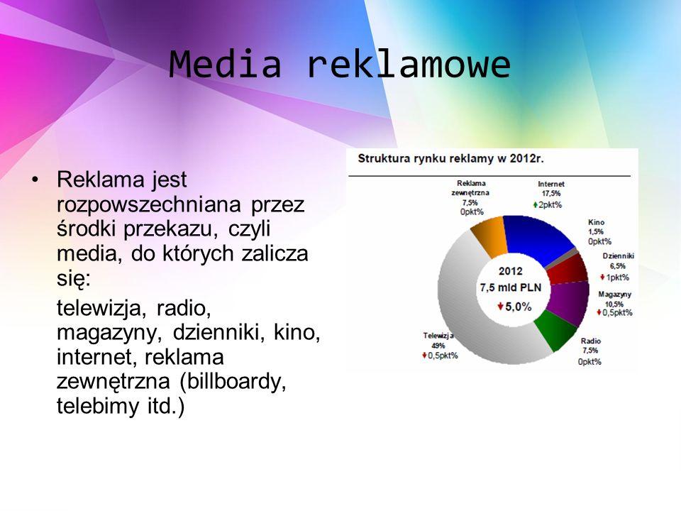 Media reklamowe Reklama jest rozpowszechniana przez środki przekazu, czyli media, do których zalicza się: telewizja, radio, magazyny, dzienniki, kino, internet, reklama zewnętrzna (billboardy, telebimy itd.)