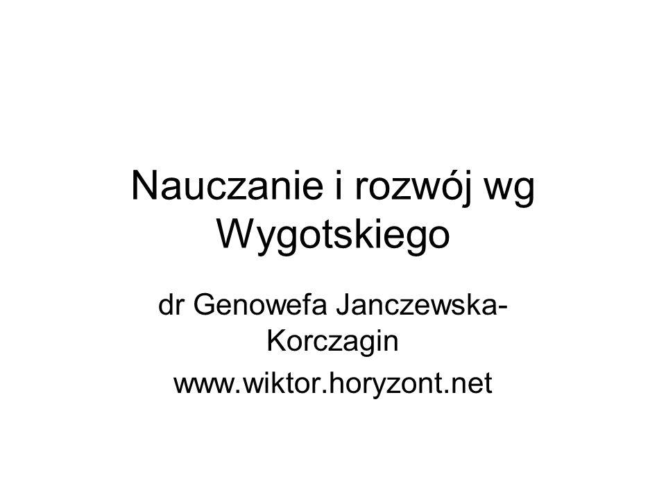 Nauczanie i rozwój wg Wygotskiego dr Genowefa Janczewska- Korczagin www.wiktor.horyzont.net
