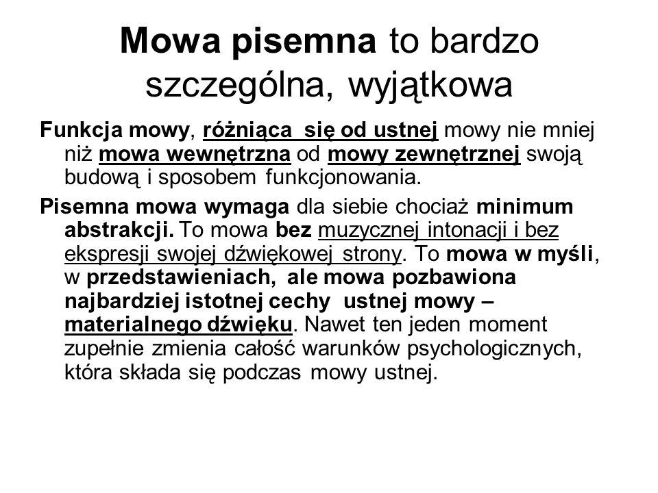 Mowa pisemna to bardzo szczególna, wyjątkowa Funkcja mowy, różniąca się od ustnej mowy nie mniej niż mowa wewnętrzna od mowy zewnętrznej swoją budową i sposobem funkcjonowania.