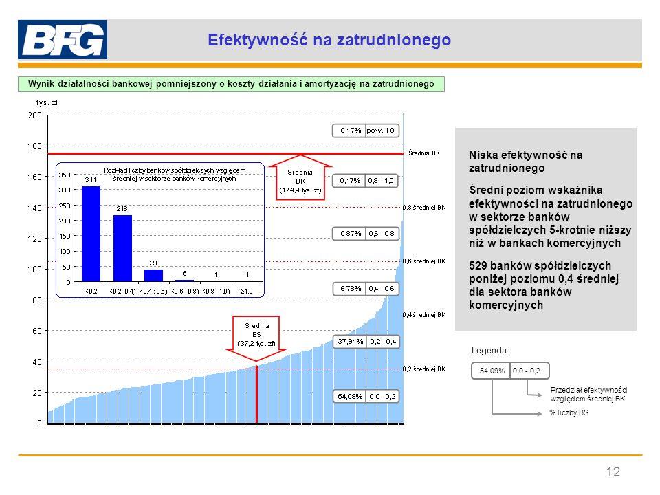 Efektywność na zatrudnionego 12 Niska efektywność na zatrudnionego Średni poziom wskaźnika efektywności na zatrudnionego w sektorze banków spółdzielcz