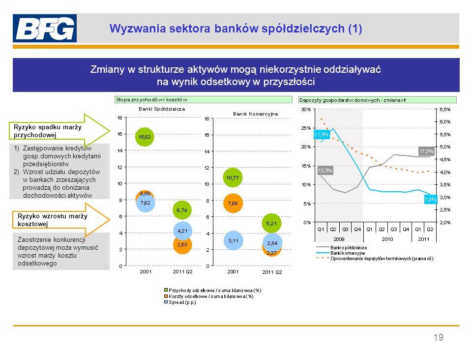 Wyzwania sektora banków spółdzielczych (1) 19 1)Zastępowanie kredytów gosp.domowych kredytami przedsiębiorstw 2)Wzrost udziału depozytów w bankach zrz